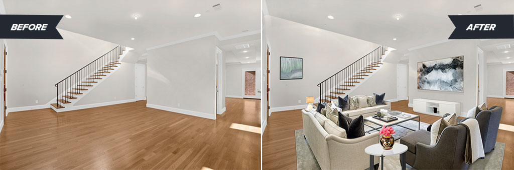 A before and after of a lovely living room after we set up the space