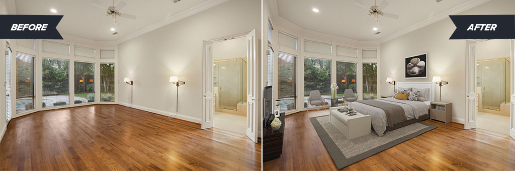 Virtual staging of a bare bedroom and what it looks like after