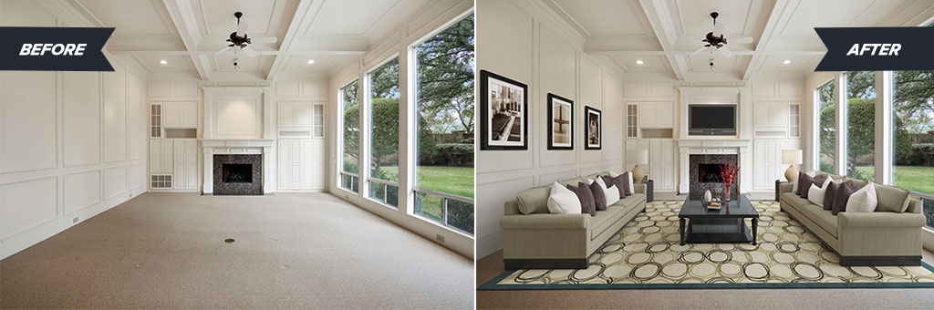 Virtual staging of a bare living room and what it looks like after the staging when it gets to the online listing