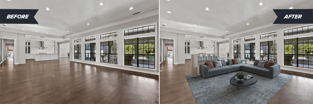 Virtually staged open concept living room and kitchen