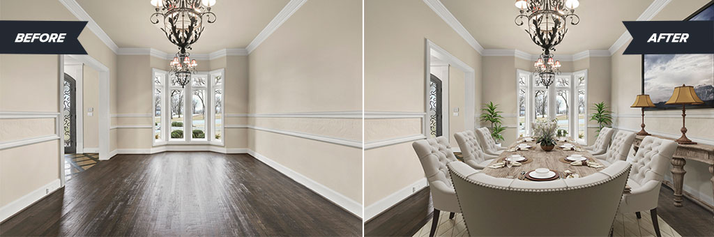 Before and After images of a dining room