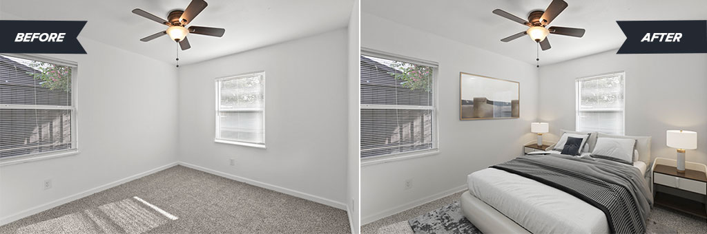 Before and after look at a virtually staged bedroom