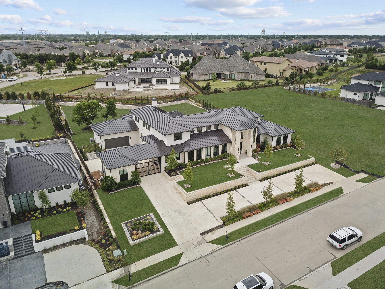 an aerial shot of a residential neighborhood